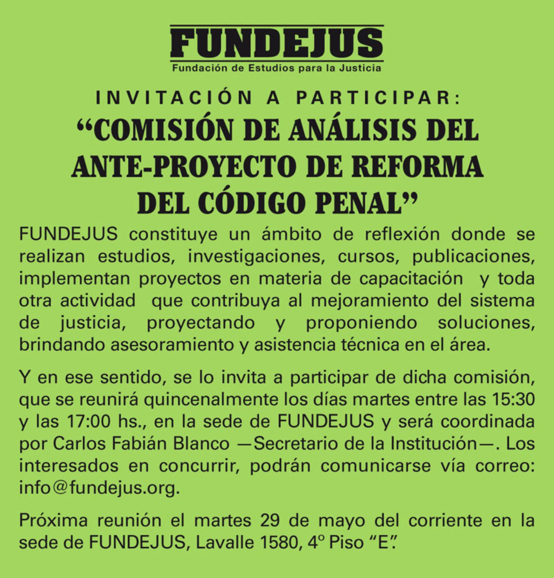 Invitación a participar: «COMISIÓN DE ANÁLISIS DEL ANTE-PROYECTO DE REFORMA DEL CÓDIGO PENAL».