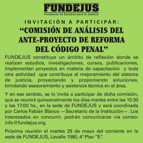 """Invitación a participar: """"COMISIÓN DE ANÁLISIS DEL ANTE-PROYECTO DE REFORMA DEL CÓDIGO PENAL""""."""