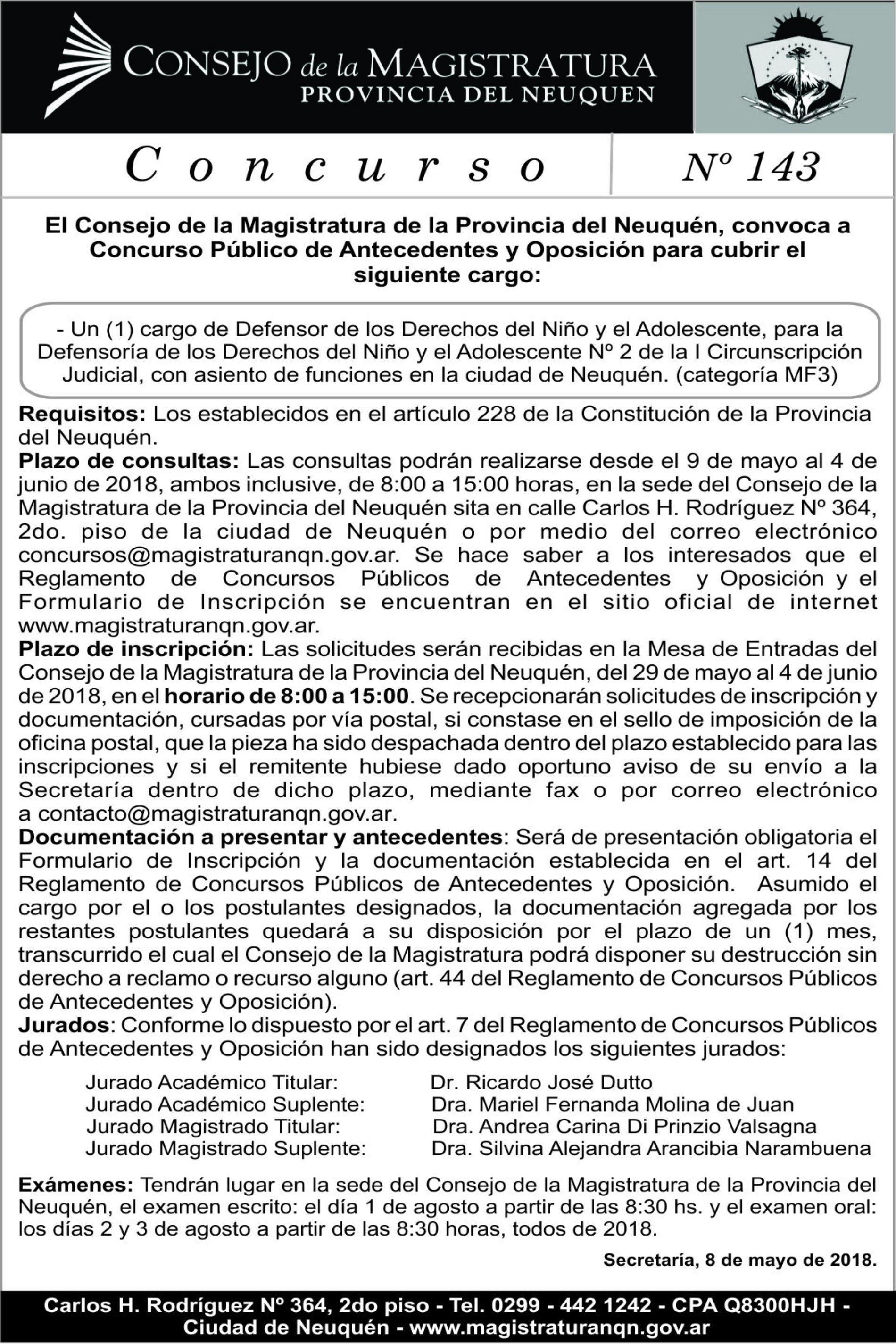 Convocatoria Concurso Público de Antecedente y Oposición: «Concurso Nº 143»