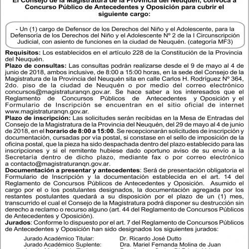 """Convocatoria Concurso Público de Antecedente y Oposición: """"Concurso Nº 143″"""