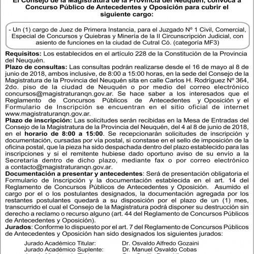 Convocatoria: «Consejo de la Magistratura de la Provincia de Neuquén».