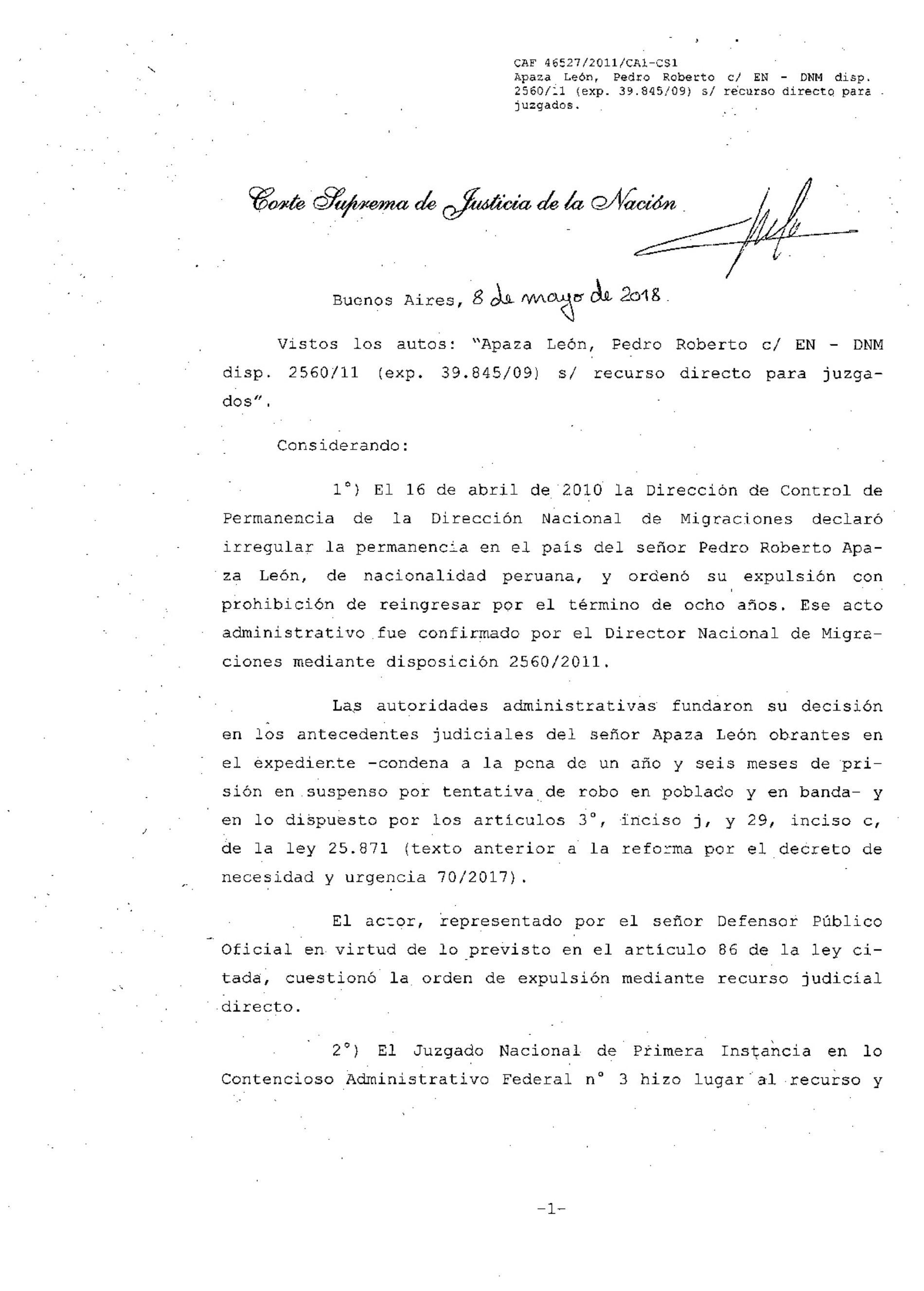 """""""Fallo de la Corte Suprema de Justicia de la Nación: s/expulsión de extranjeros condenados penalmente."""""""