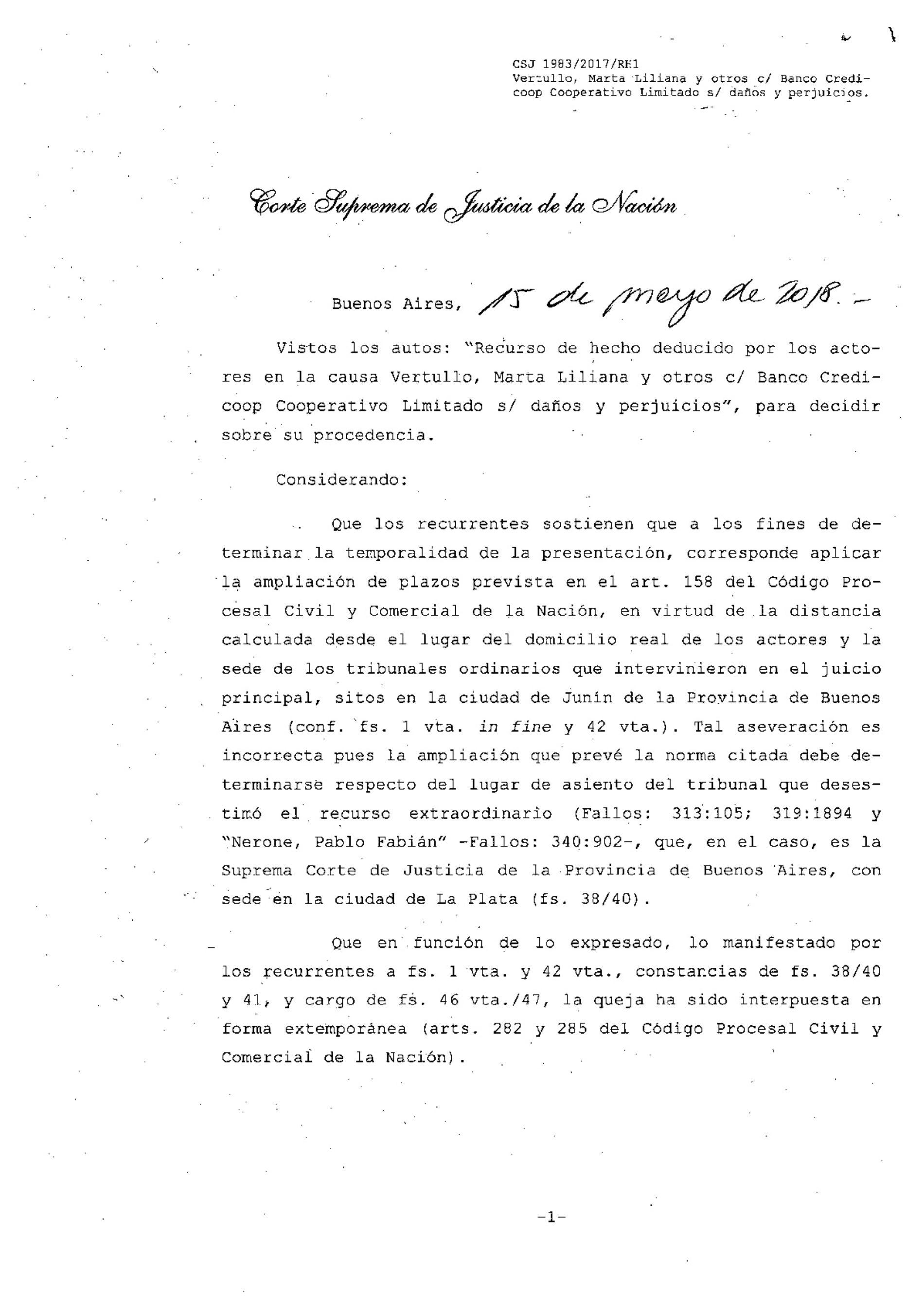 «Fallo de la Corte Suprema de Justicia de la Nación: s/ Recurso Extraordinario.»