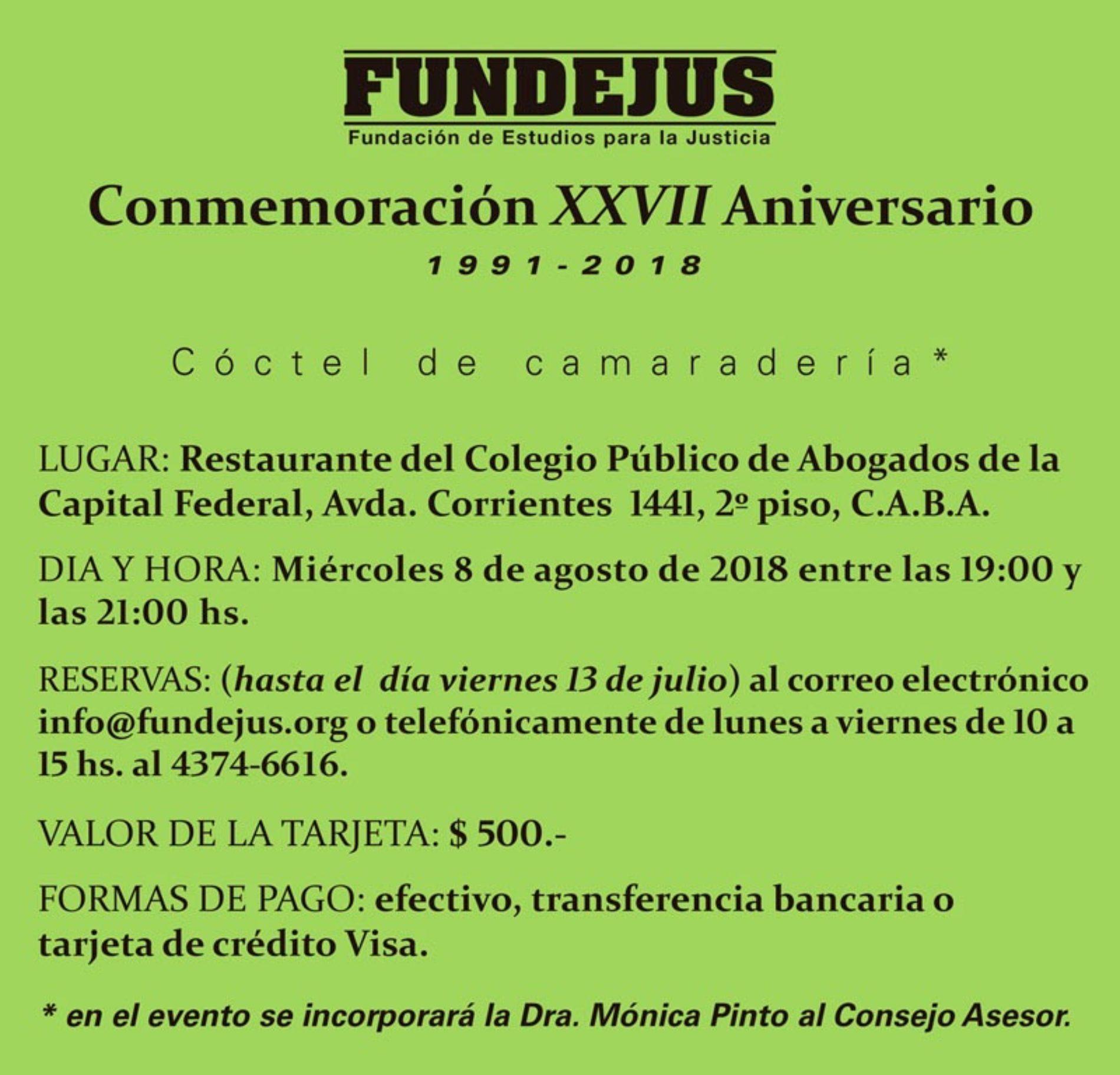 «Conmemoración XXVII Aniversario de Fundejus». 1991-2018