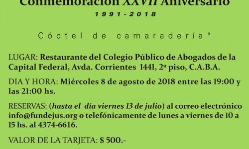 """""""Conmemoración XXVII Aniversario de Fundejus"""". 1991-2018"""