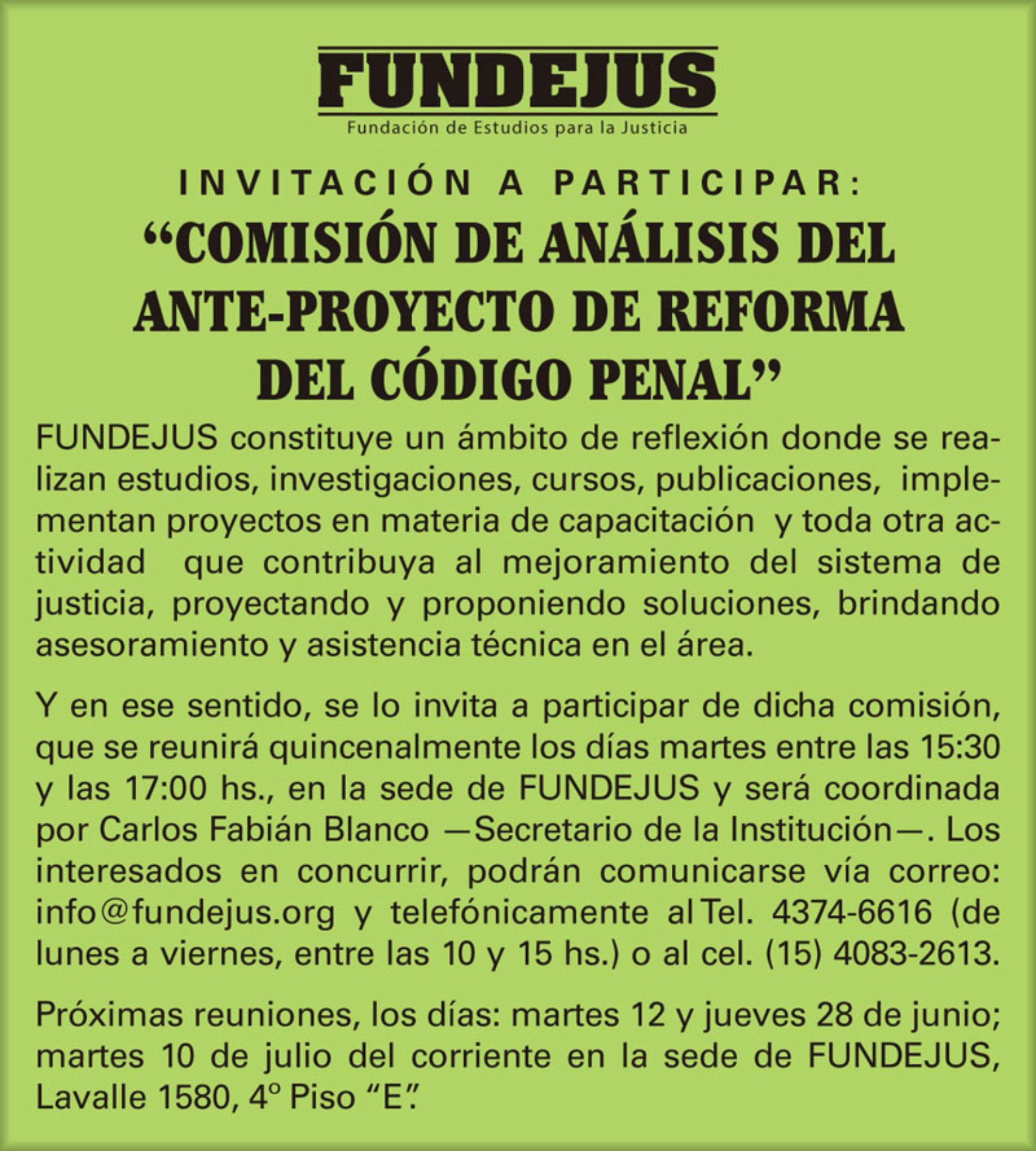 Invitación a participar: «Comisión de Análisis del Ante-proyecto de Reforma del Código Penal.»