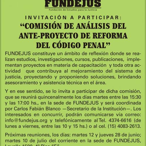 """Invitación a participar: """"Comisión de Análisis del Ante-proyecto de Reforma del Código Penal."""""""