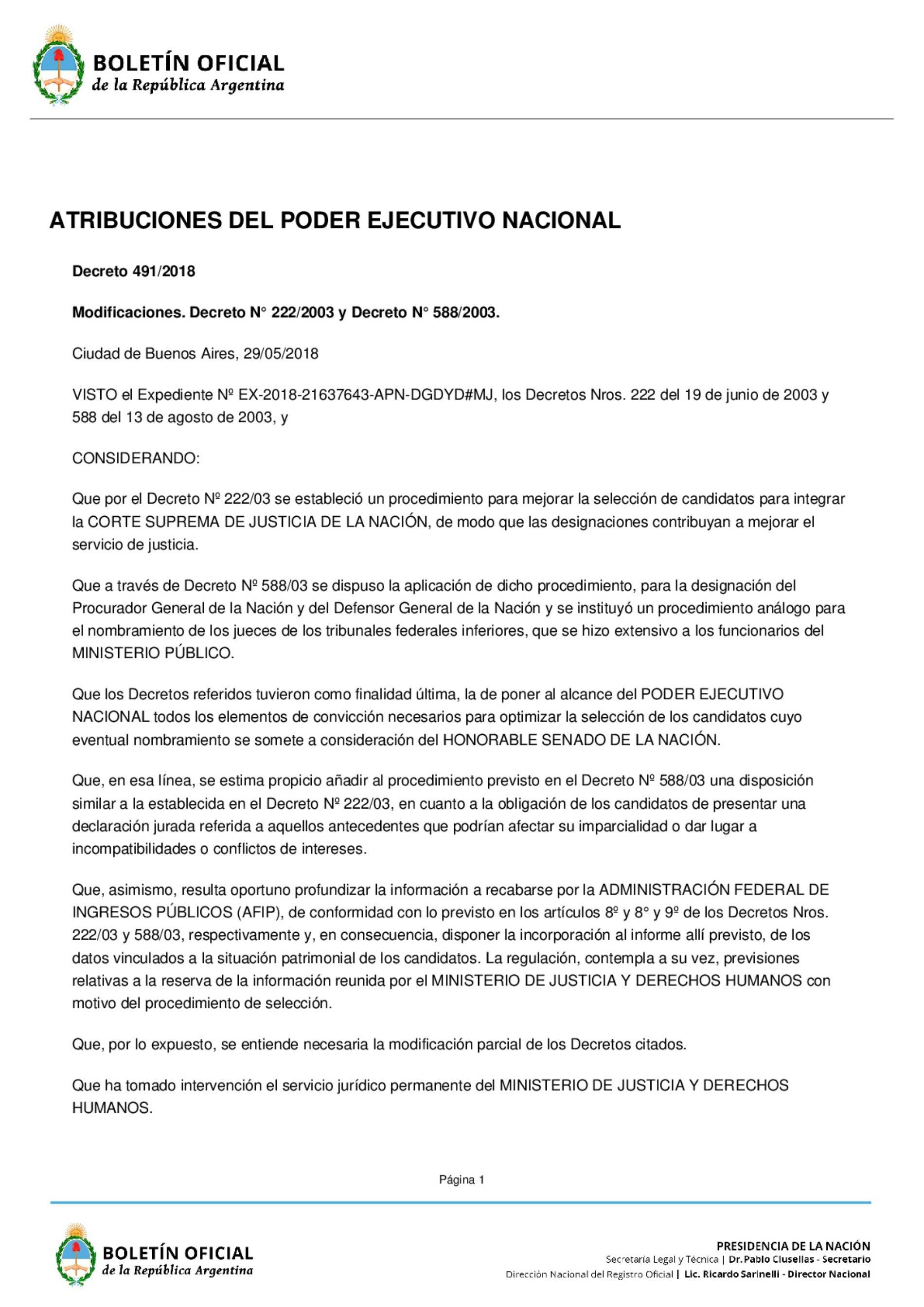 «Decreto del P.E.N. Nº 491/18: Pedido de información a la A.F.I.P s/ postulantes a nuevos cargos del P.J.N»