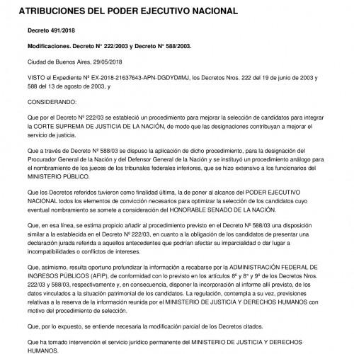 """""""Decreto del P.E.N. Nº 491/18: Pedido de información a la A.F.I.P s/ postulantes a nuevos cargos del P.J.N"""""""