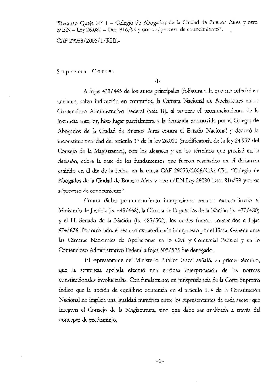 Opinión del Procurador General de La Nación -interino-: s/ la composición del Consejo de la Magistratura de La Nación