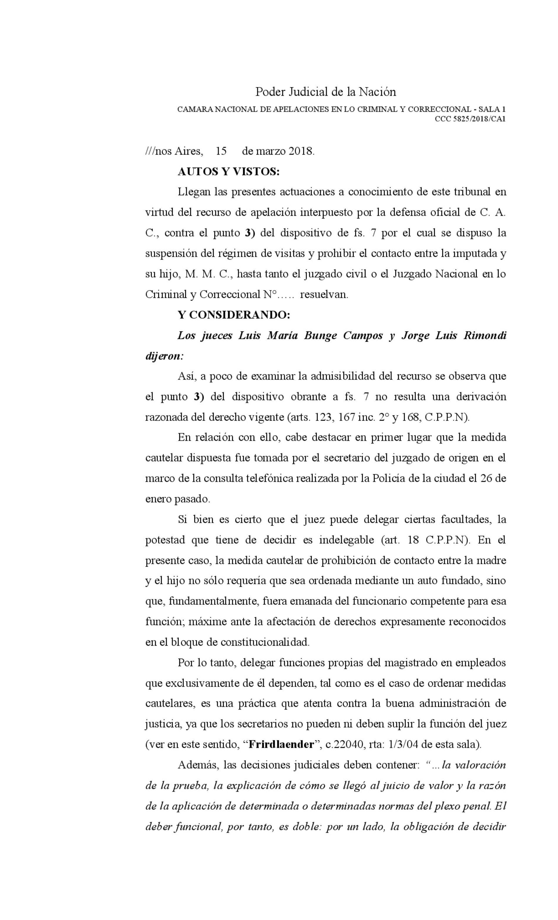«Fallo de la Cámara Criminal de la Cap. Fed: s/Delegación de tareas al Secretario por parte del Juez».