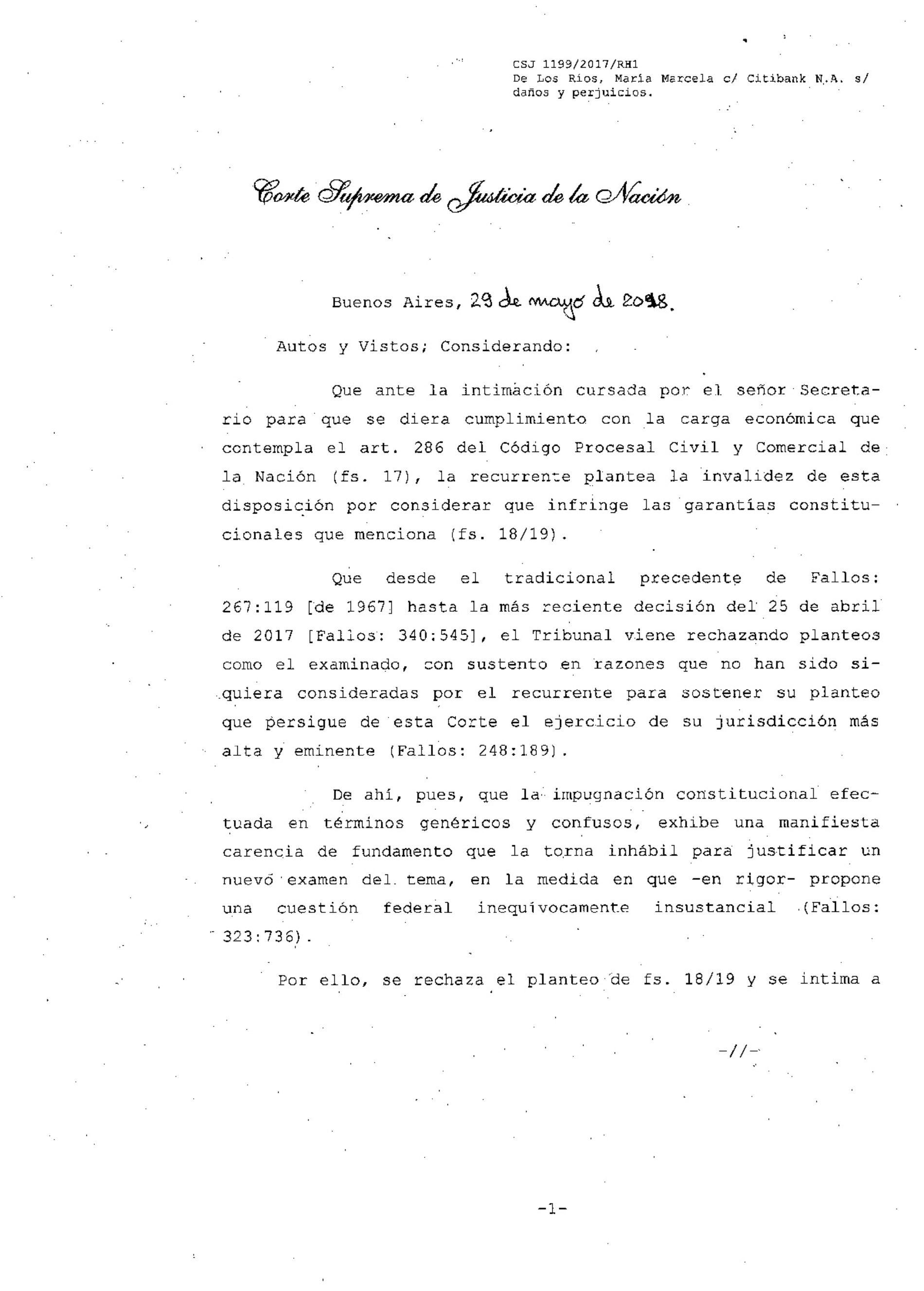 «Fallo de la C.S.J.N. -materia civil-: Constitucionalidad s/ obligación de depósito para tratamiento de recurso ext.»