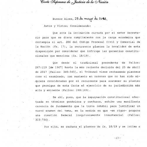 """""""Fallo de la C.S.J.N. -materia civil-: Constitucionalidad s/ obligación de depósito para tratamiento de recurso ext."""""""