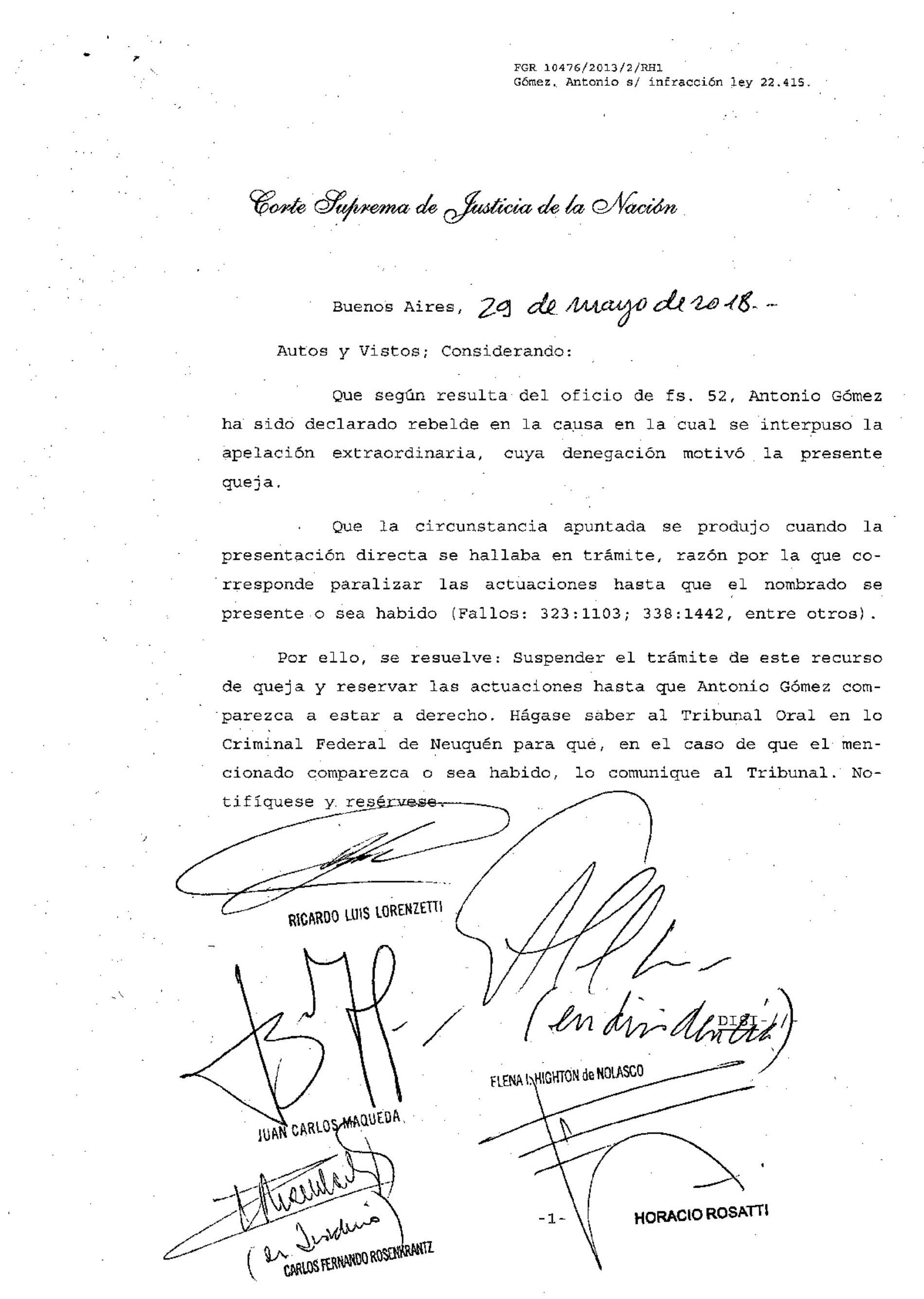 » Fallo de la S.C.J.N.: -materia penal- recurso de queja con acusado rebelde».