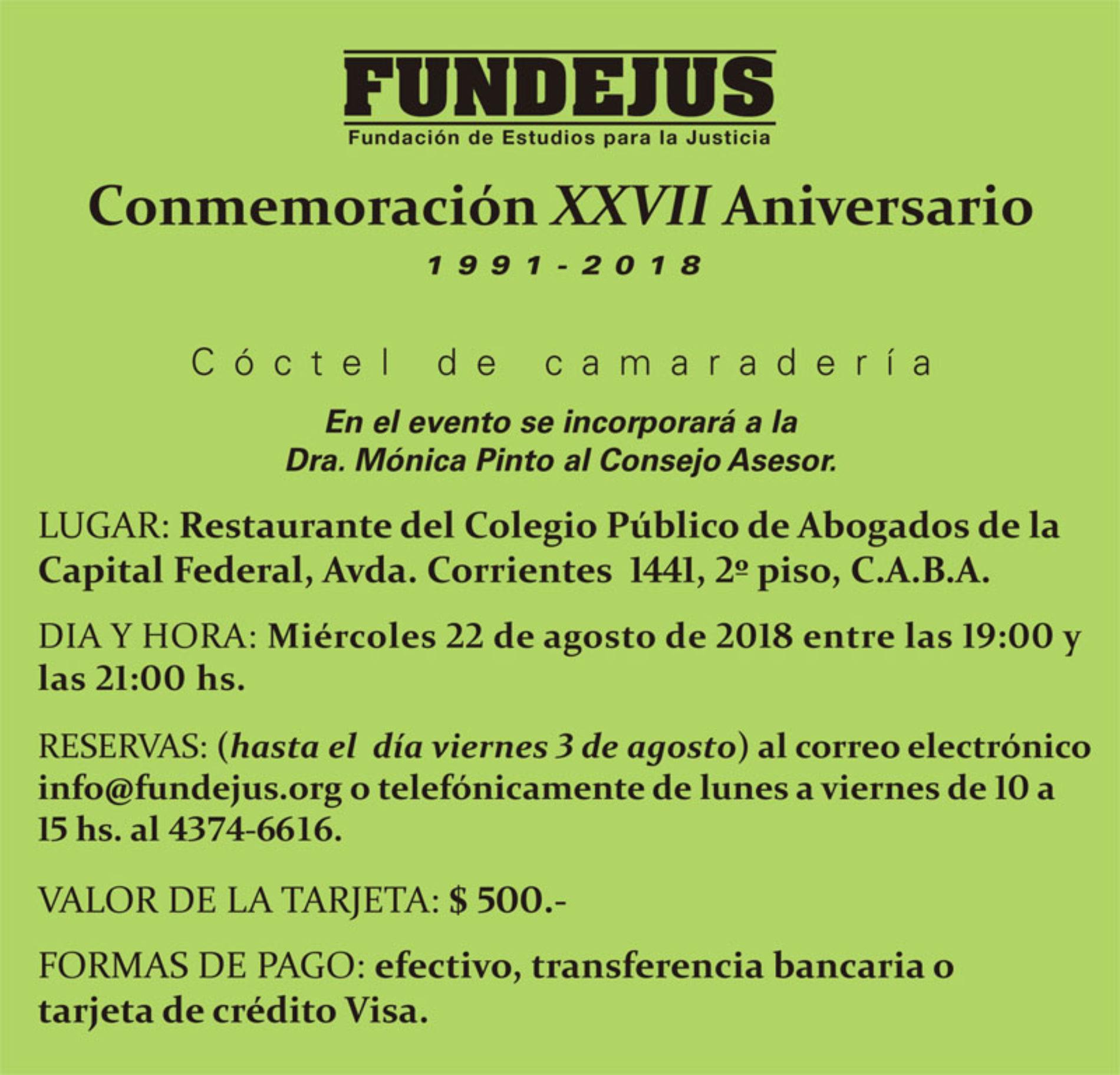 «Conmemoración XXVII Aniversario». Cambio de fecha.