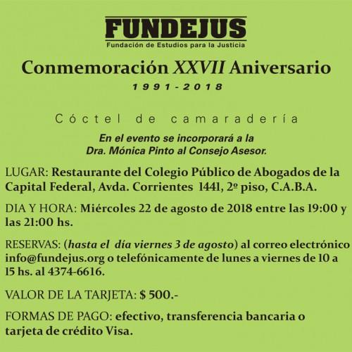 """Conmemoración XXVII Aniversario"". Cambio de fecha."