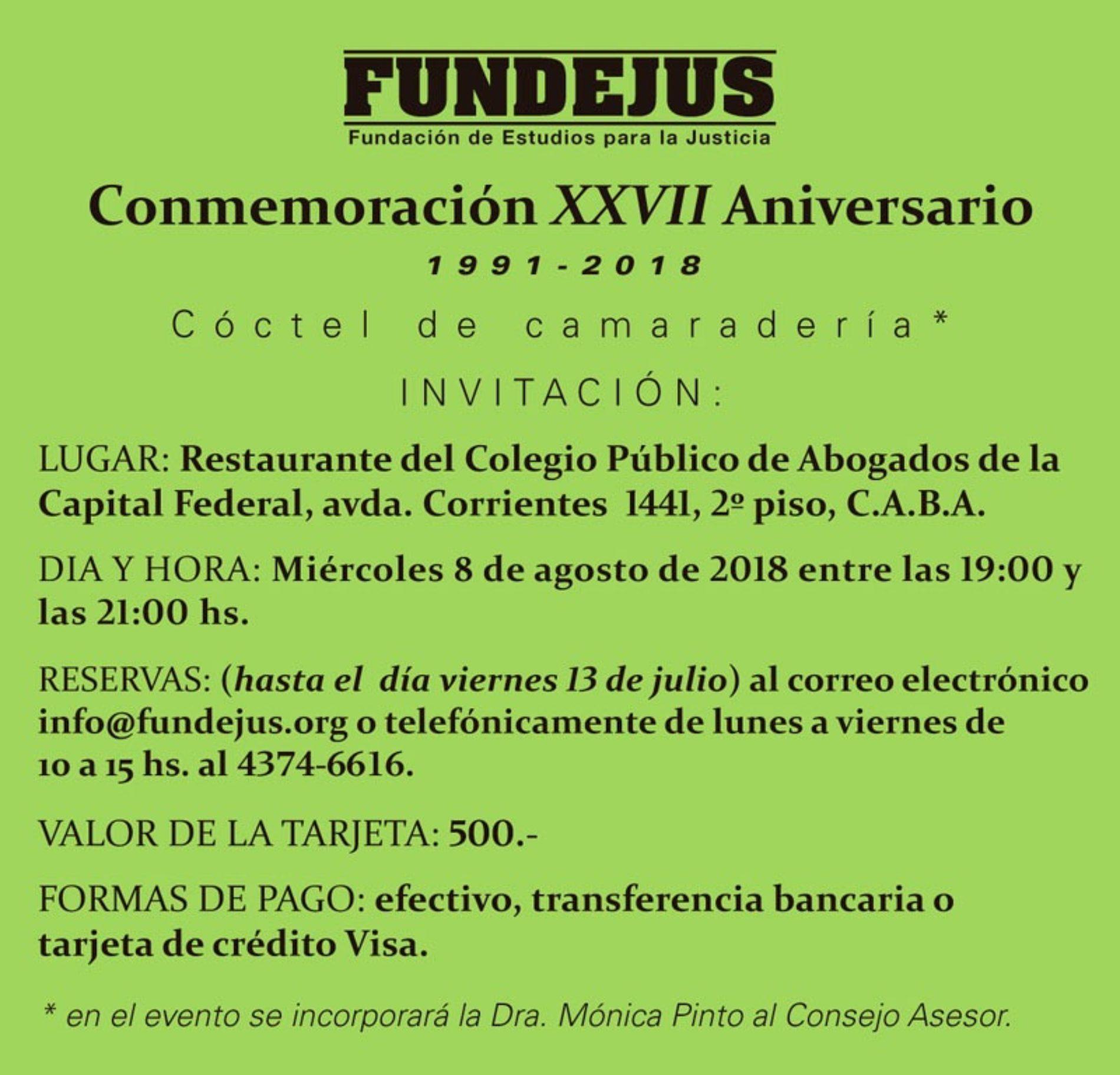 «Conmemoración XXVII Aniversario de Fundejus». 1991-2018.-