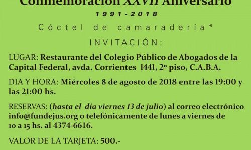 """""""Conmemoración XXVII Aniversario de Fundejus"""". 1991-2018.-"""