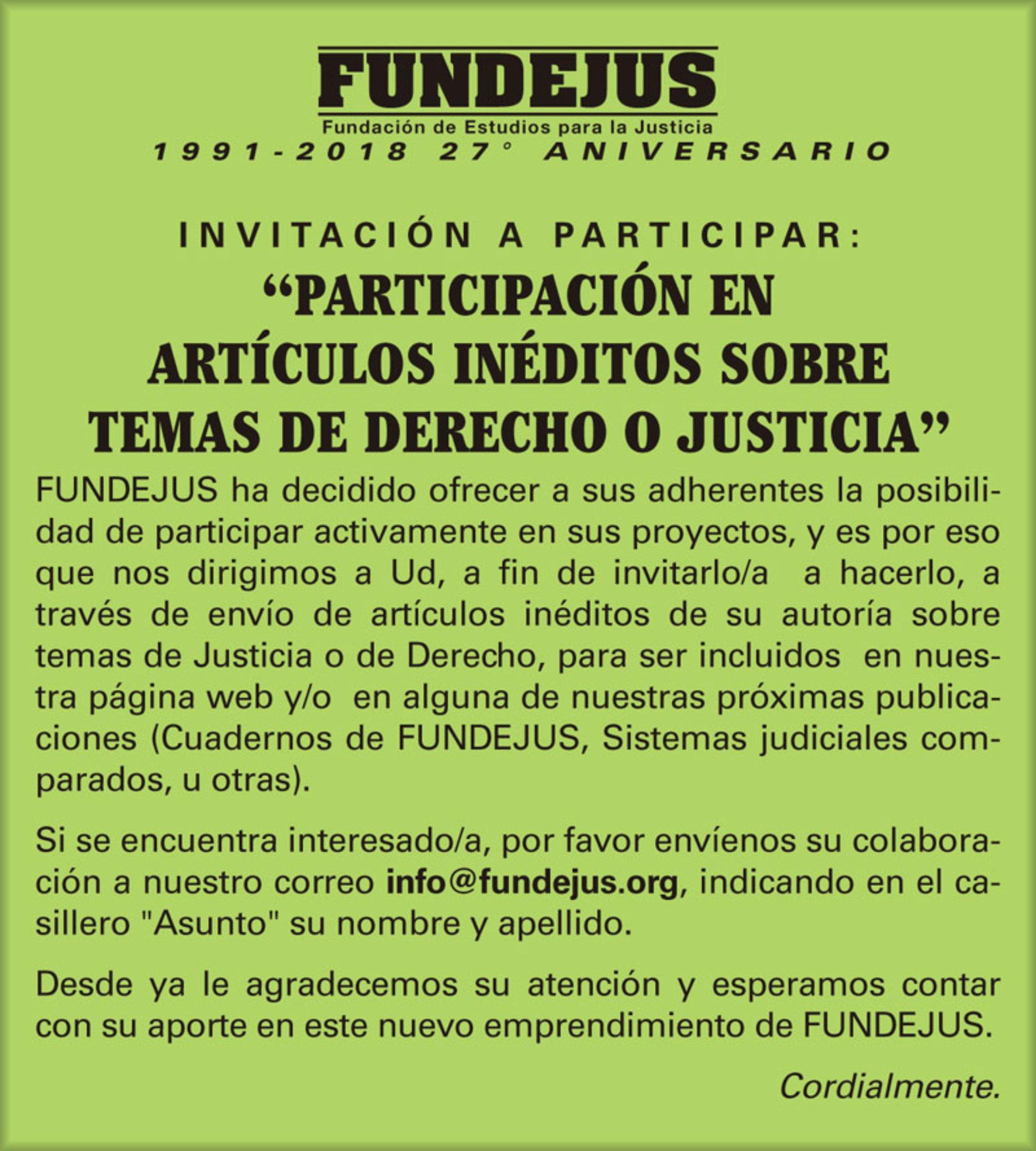«Participación en artículos inéditos sobre temas de Derecho o Justicia»