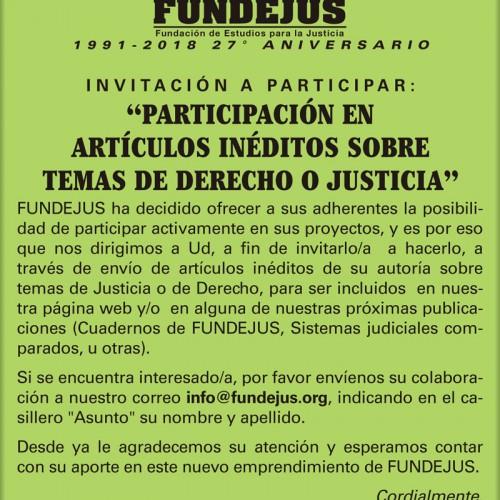 """""""Participación en artículos inéditos sobre temas de Derecho o Justicia"""""""