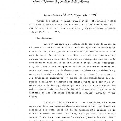 «Fallo de la C.S.J.N.: s/ derecho a pedir indemnización a hijos de exiliados durante la última dictadura, nacidos en el extranjero.»