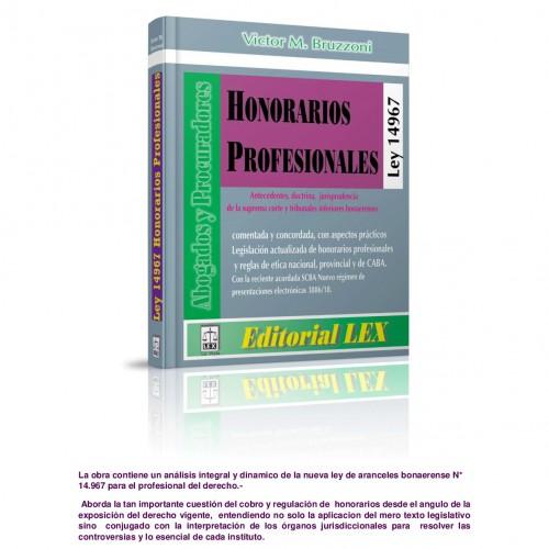 Nueva obra jurídica s/ Honorarios Profesionales -ley 14967-: autor Víctor Bruzzoni