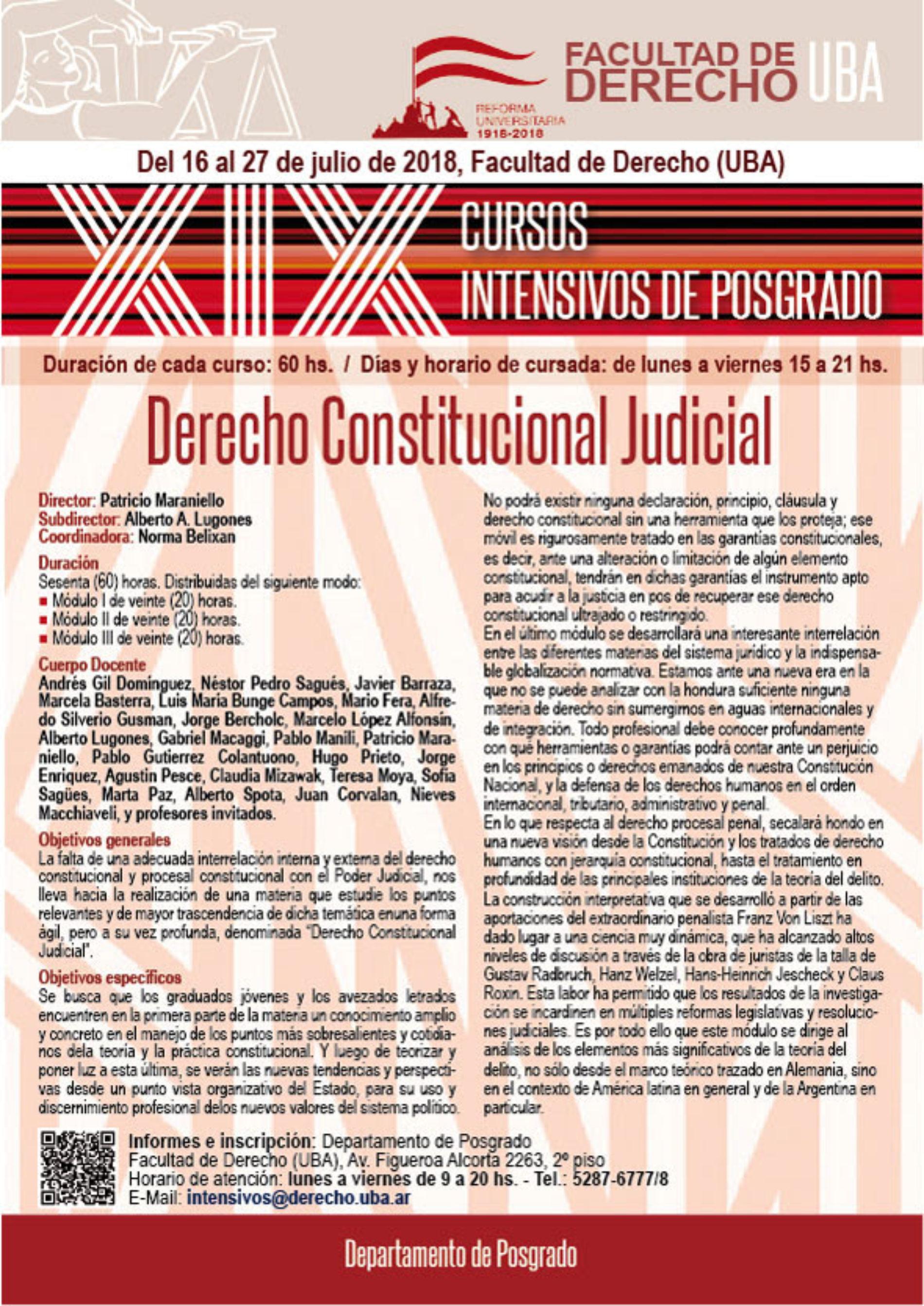 XIX Cursos Intensivos de Posgrado – Derecho Constitucional Judicial