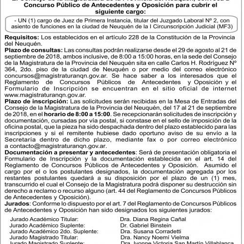 «Consejo de la Magistratura – Provincia de Neuquén. Convocatoria Concurso N°147»