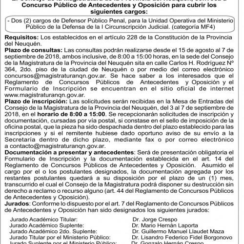 Consejo de la Magistratura. Provincia de Neuquén. Convocatoria Concurso N°146