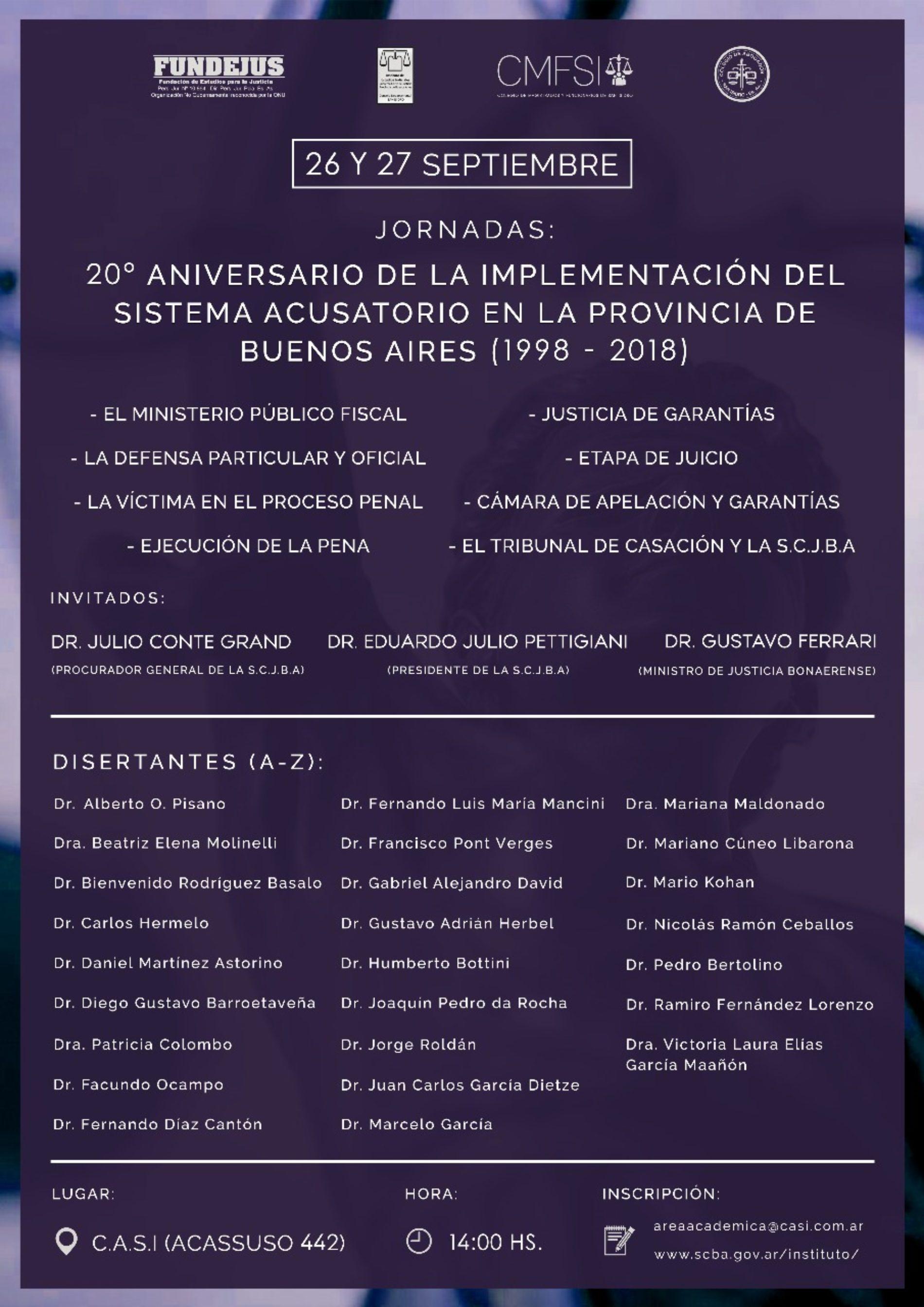 «20° ANIVERSARIO DE LA IMPLEMENTACIÓN DEL SISTEMA ACUSATORIO EN LA PROVINCIA DE BUENOS AIRES (1998-2018)»