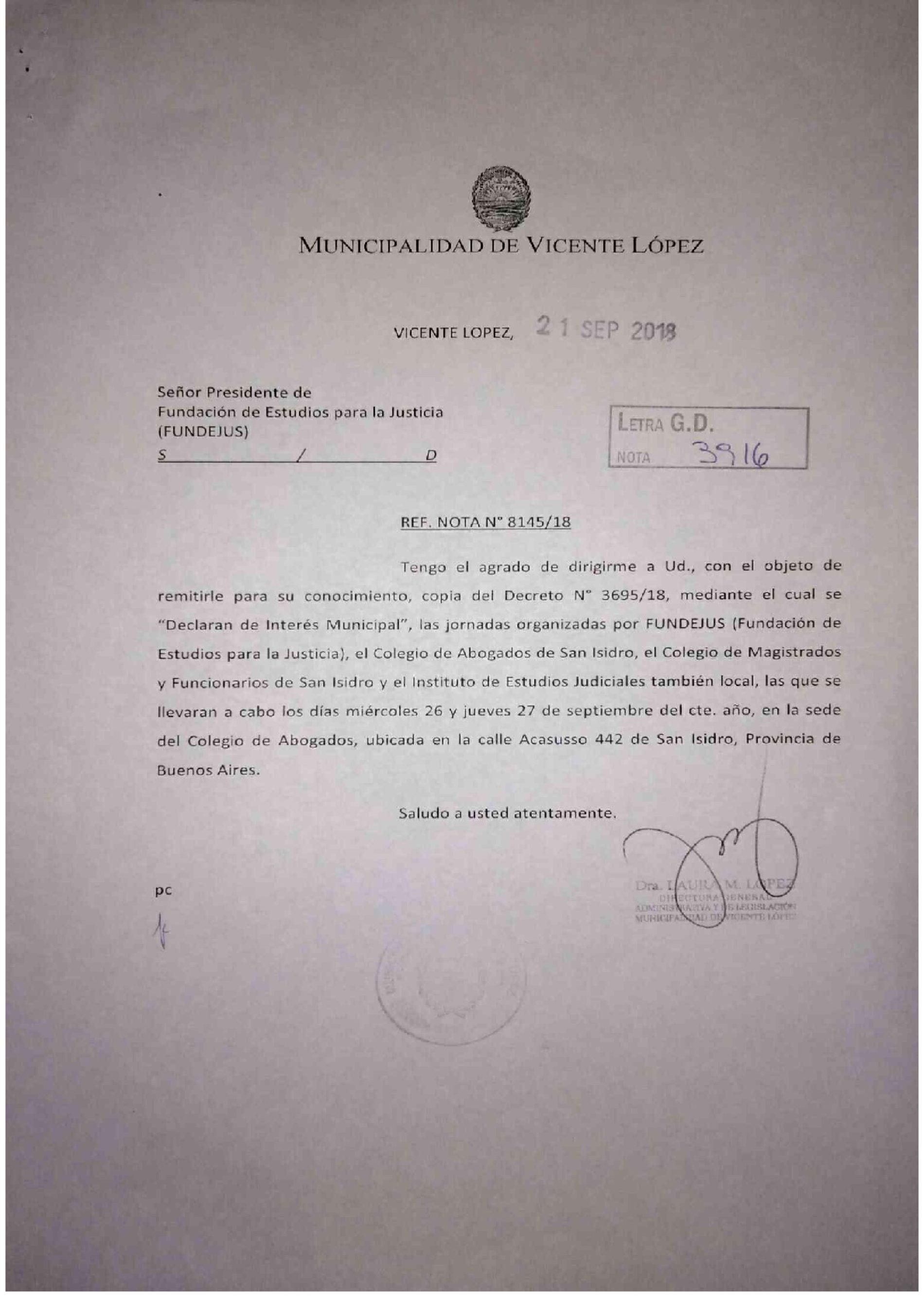 20° aniversario del C.P.P. Bs.As: declaración de interés de la Municipalidad de Vicente López.