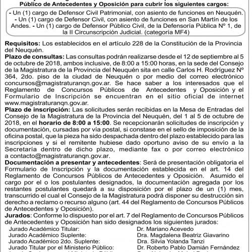 """Consejo de la Magistratura de la Provincia de Neuquén"" Concursos N° 148, 149, 150."