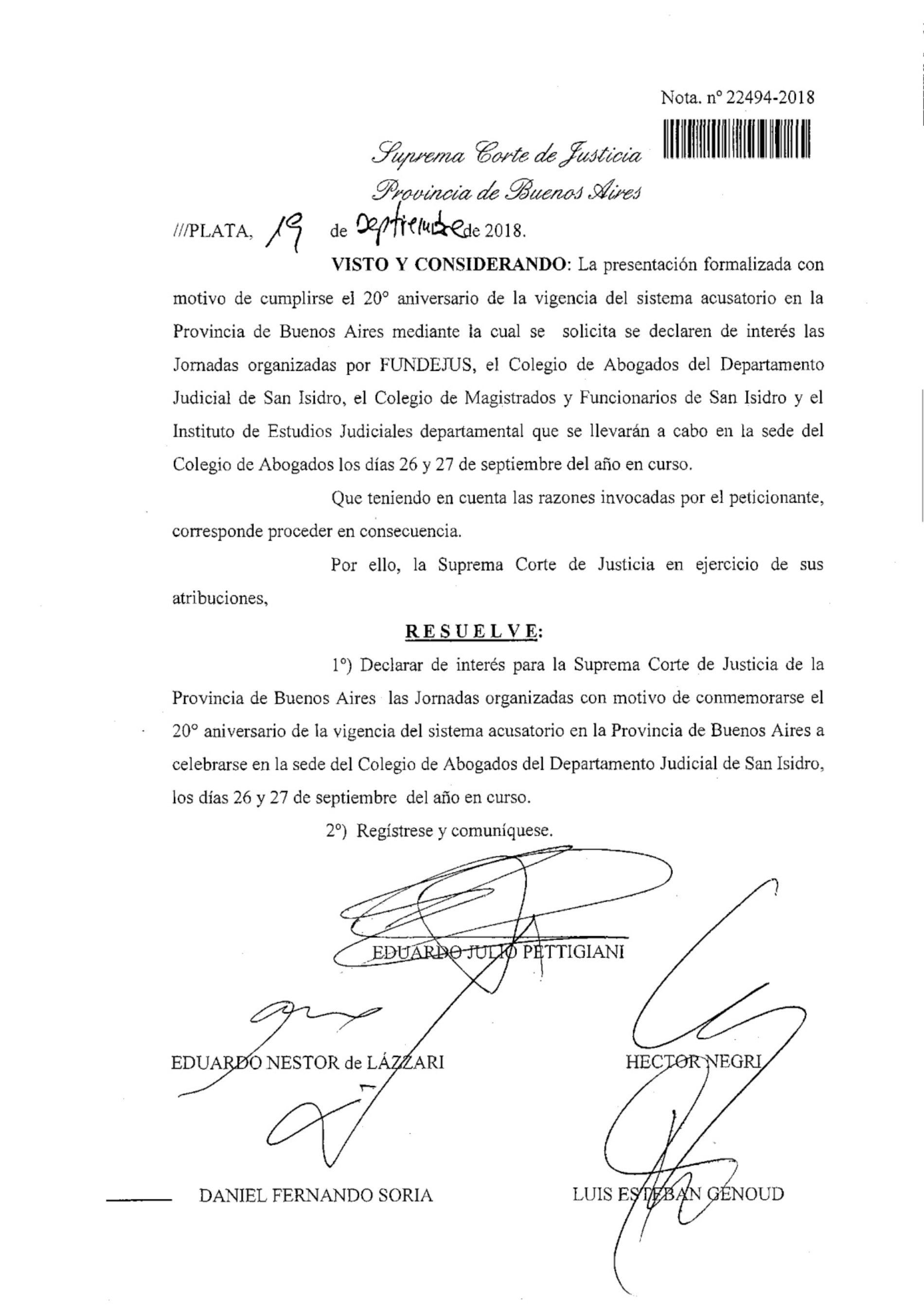 20° aniversario del C.P.P. Bs.As: declaración de interés de la Suprema Corte de Justicia de la Provincia de Buenos Aires.