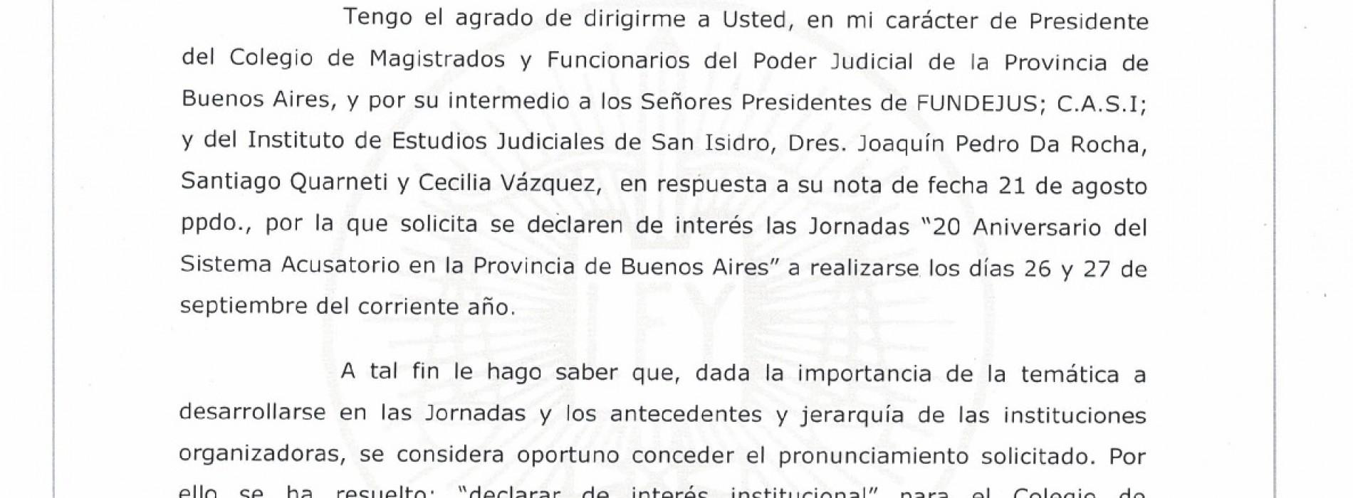 20° aniversario del C.P.P. Bs.As: declaración de interés del Colegio de Magistrados y Funcionarios del Poder Judicial de la Provincia de Buenos Aires.