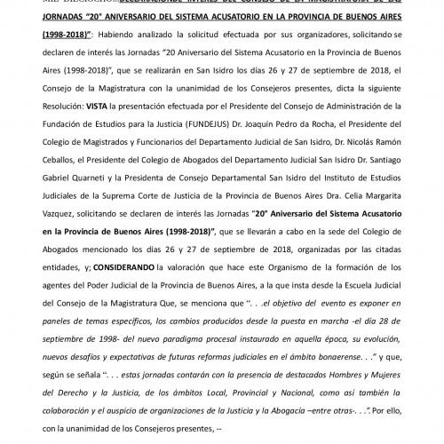 20° aniversario del C.P.P. Bs.As: declaración de interés de Consejo de la Magistratura Bonaerense.