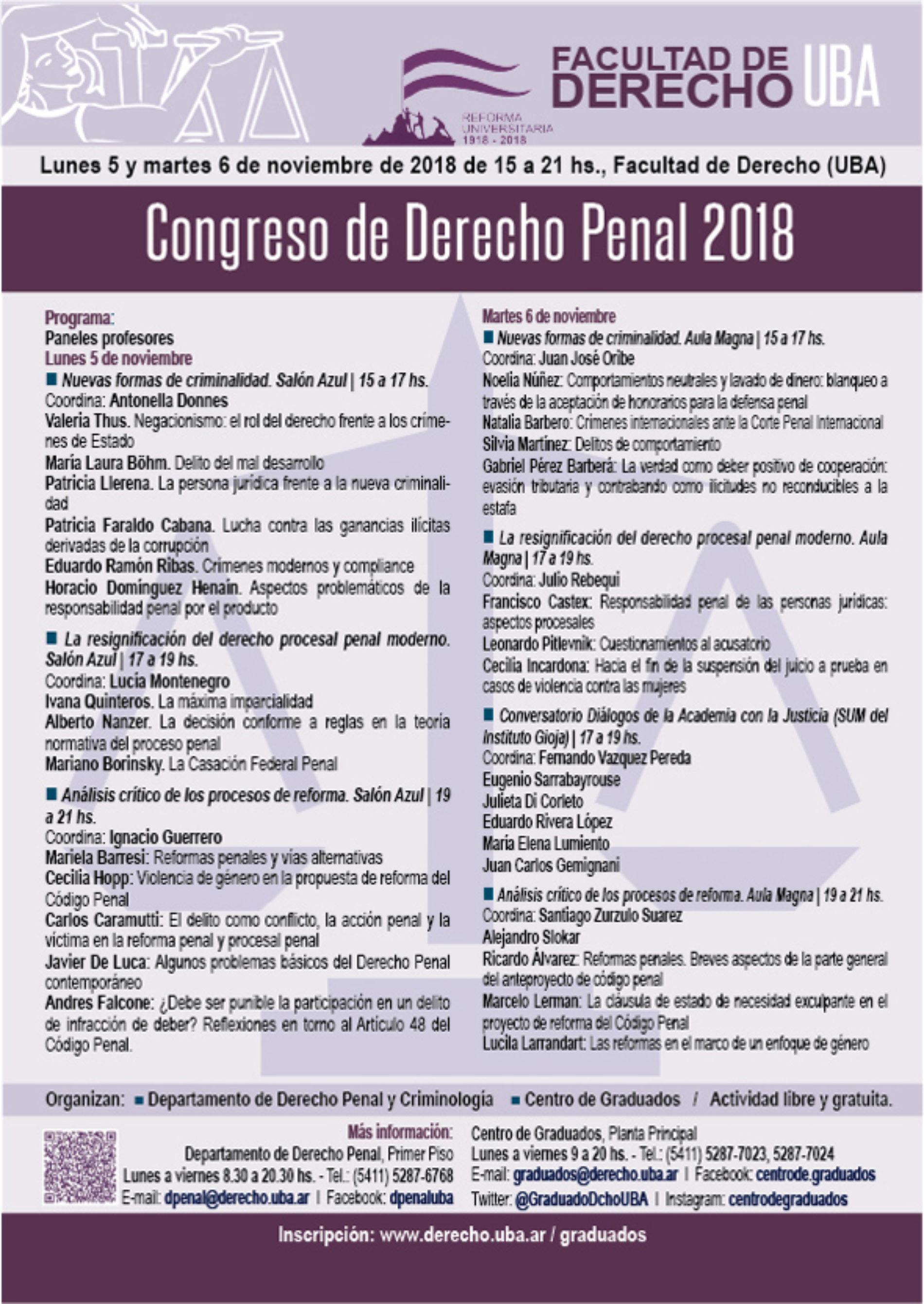 «CONGRESO DE DERECHO PENAL 2018»