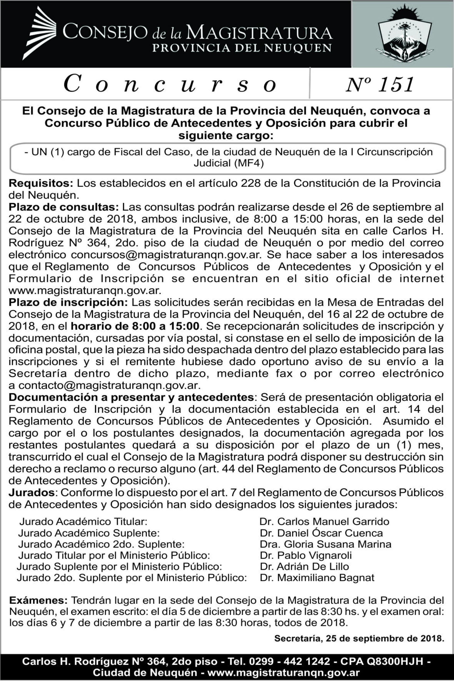«Consejo de la Magistratura – Provincia de Neuquén». Concurso N° 151.