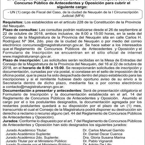 """Consejo de la Magistratura – Provincia de Neuquén"". Concurso N° 151."