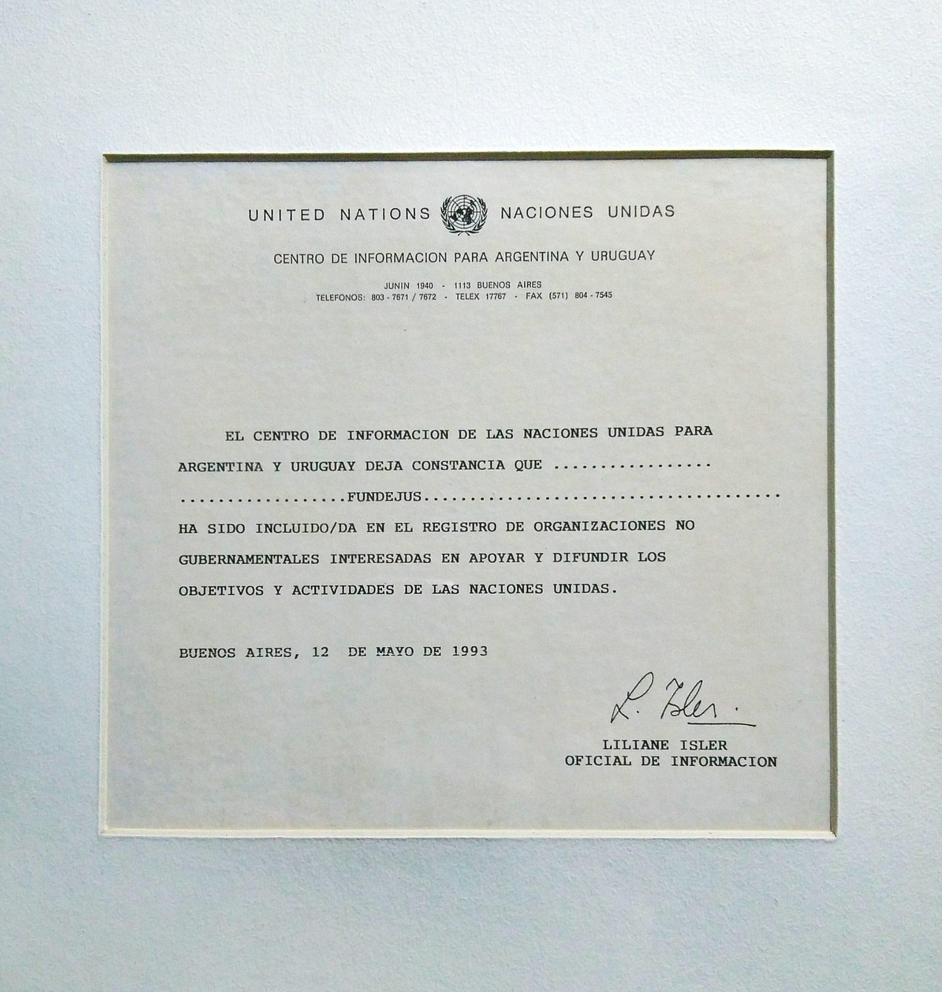 «FUNDEJUS INCLUIDA EN EL REGISTRO DE ORGANIZACIONES NO GUBERNAMENTALES» 1993