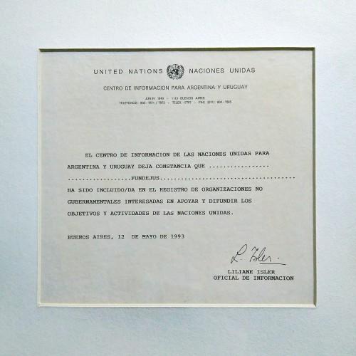 """""""FUNDEJUS INCLUIDA EN EL REGISTRO DE ORGANIZACIONES NO GUBERNAMENTALES"""" 1993"""
