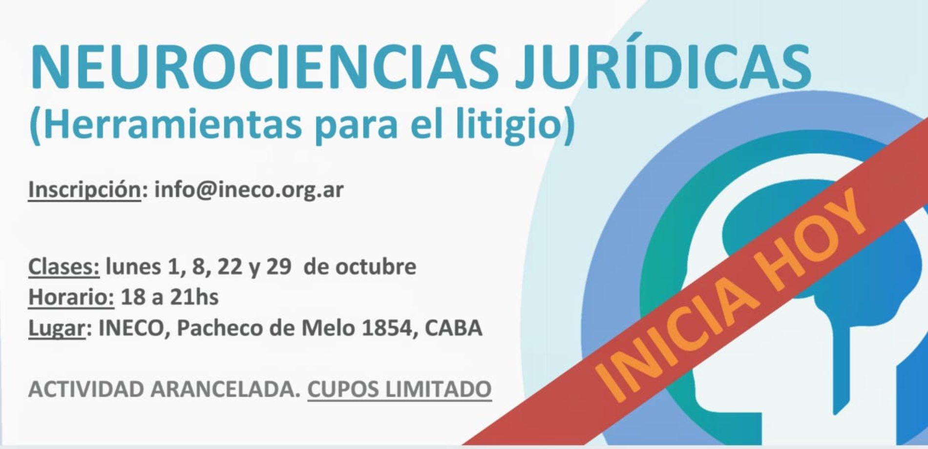 INICIA HOY. «Workshop: Neurociencias Jurídicas»  (Herramientas para el litigio)