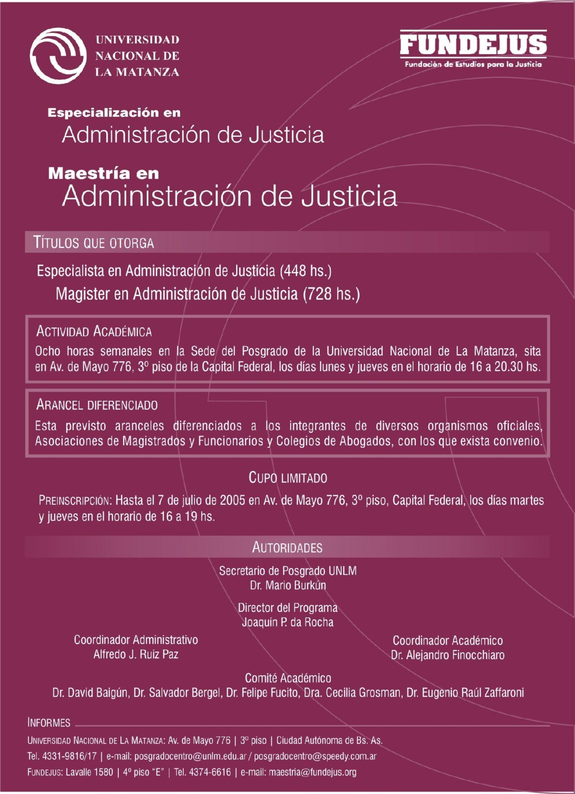«ESPECIALIZACIÓN Y MAESTRÍA EN ADMINISTRACIÓN DE JUSTICIA «