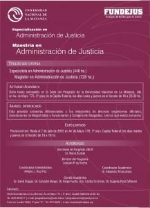 especializacion y maestria en administracion y justicia