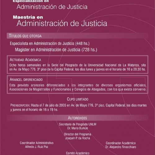"""""""ESPECIALIZACIÓN Y MAESTRÍA EN ADMINISTRACIÓN DE JUSTICIA """""""