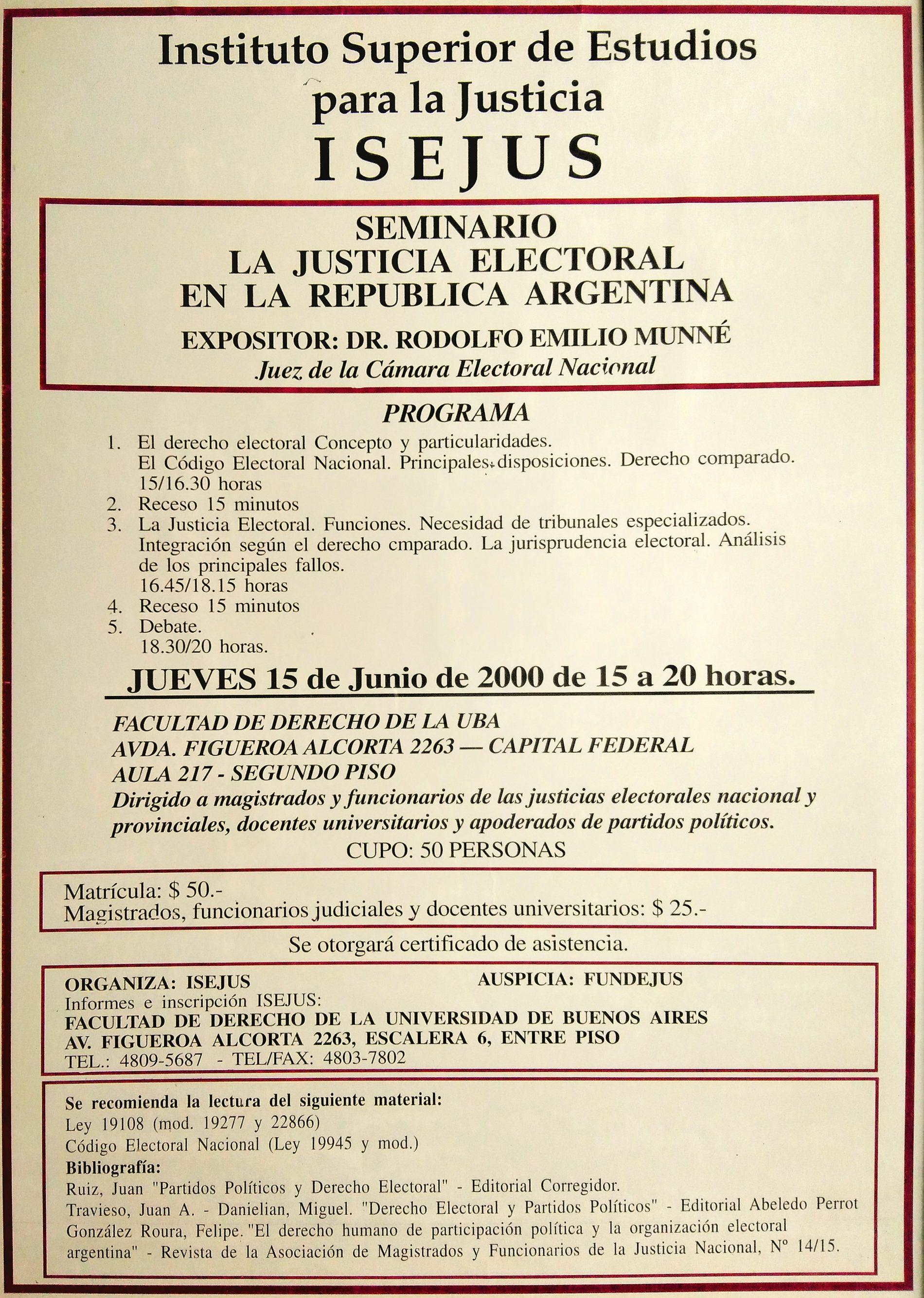 «Seminario: La Justicia Electoral en la República Argentina» ISEJUS.