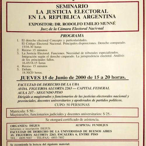 """""""Seminario: La Justicia Electoral en la República Argentina"""" ISEJUS."""