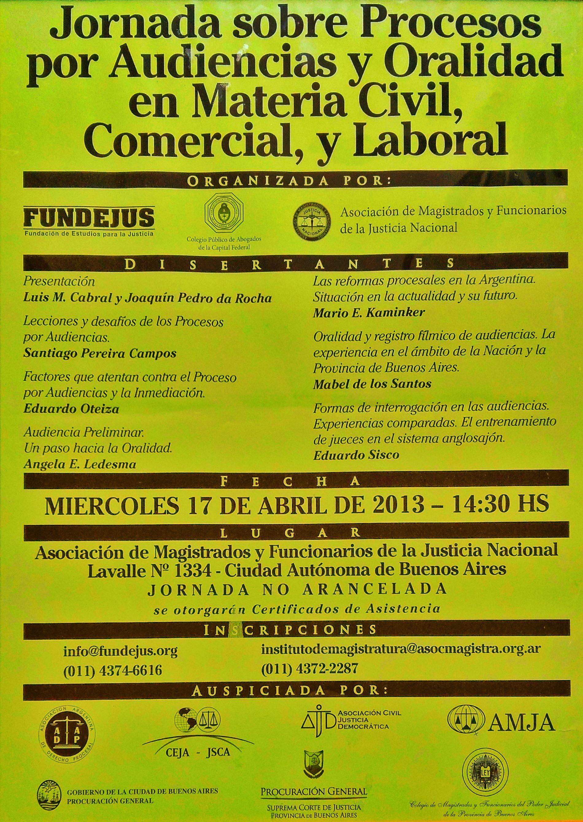 «Jornada sobre Procesos por Audiencias y Oralidad en Materia Civil, Comercial y Laboral»