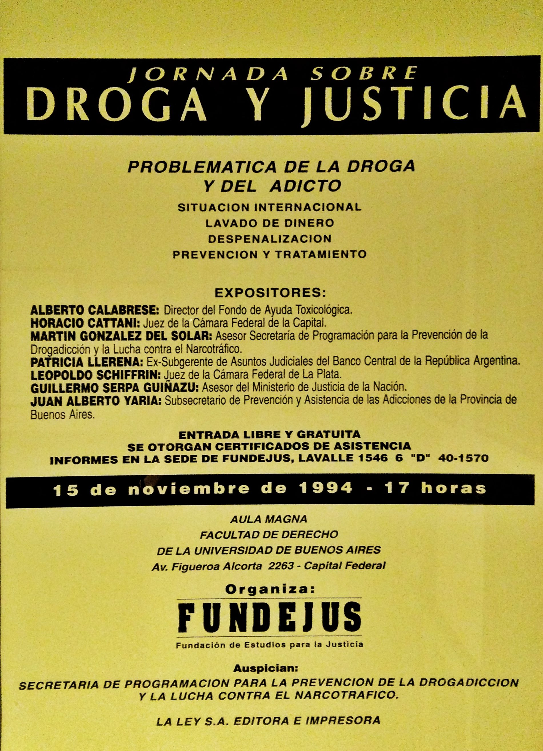 «Jornada sobre: DROGA Y JUSTICIA»