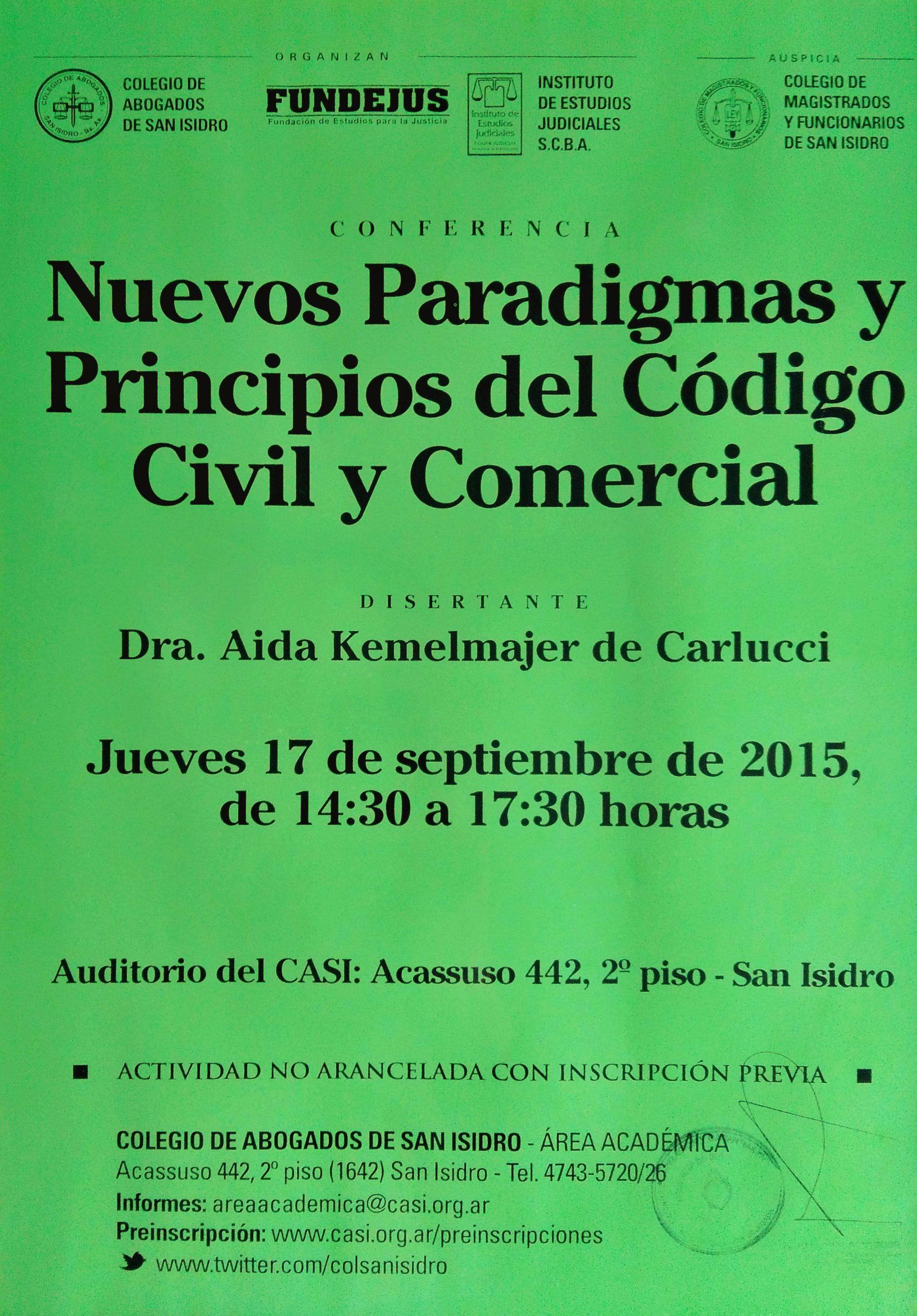 «Conferencia: Nuevos Paradigmas y Principios del Código Civil y Comercial»