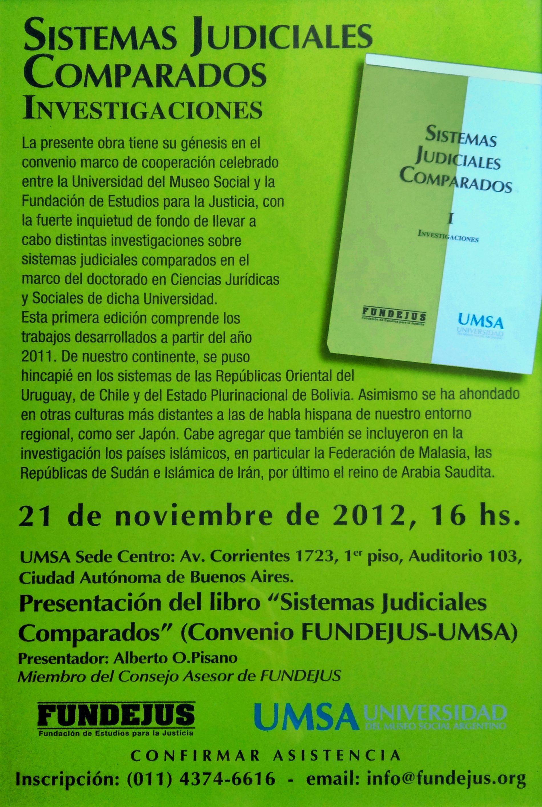 «Presentación del libro: SISTEMAS JUDICIALES COMPARADOS – TOMO I»